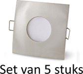 Philips badkamer inbouwspot | Extra warm wit | Zilver vierkant | Set van 5 stuks