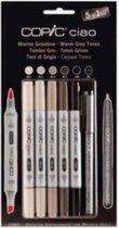 COPIC hobby marker ciao 5 + 1 set, warme grijstinten