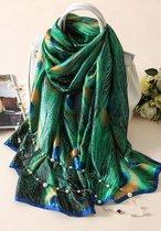 Premium Zijden Sjaal - Lente Zomer Vogel Pauw Print - Luxe Shawl - omslagdoek