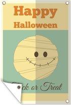 'Happy Halloween' met een mummie en groene achtergrond tuinposter los doek 80x120 cm - Tuindoek / Buitencanvas / Schilderijen voor buiten (tuin decoratie)
