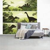 Behang - Fotobehang Dinosaurus - Jungle - Illustratie - Breedte 220 cm x hoogte 220 cm