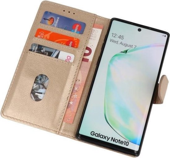 Wicked Narwal | bookstyle / book case/ wallet case Wallet Cases Hoes voor Samsung Samsung Galaxy Note 10 Goud