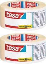 2x rollen afplaktape/schilderstape 50 mm x 50 m - Verf afplakband/tape - Maskeertape - Tesa Masking tape