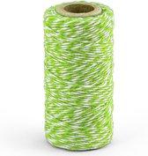 1x Groen/wit bakkerstouw 50 meter hobby materiaal - Baktouw/slagerstouw/bindtouw/keukentouw - Cadeaulint