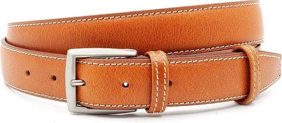 Fijne cognac kleurige pantalonriem 3 cm breed - Cognac - Casual - Leer - Taille: 120cm - Totale lengte riem: 135cm - Unisex riem