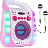 Karaoke set met microfoons en ingebouwde speaker - Fenton SBS30P - 2 karaoke microfoons - Bluetooth - CD G - Lichteffecten - Draagbaar - Roze