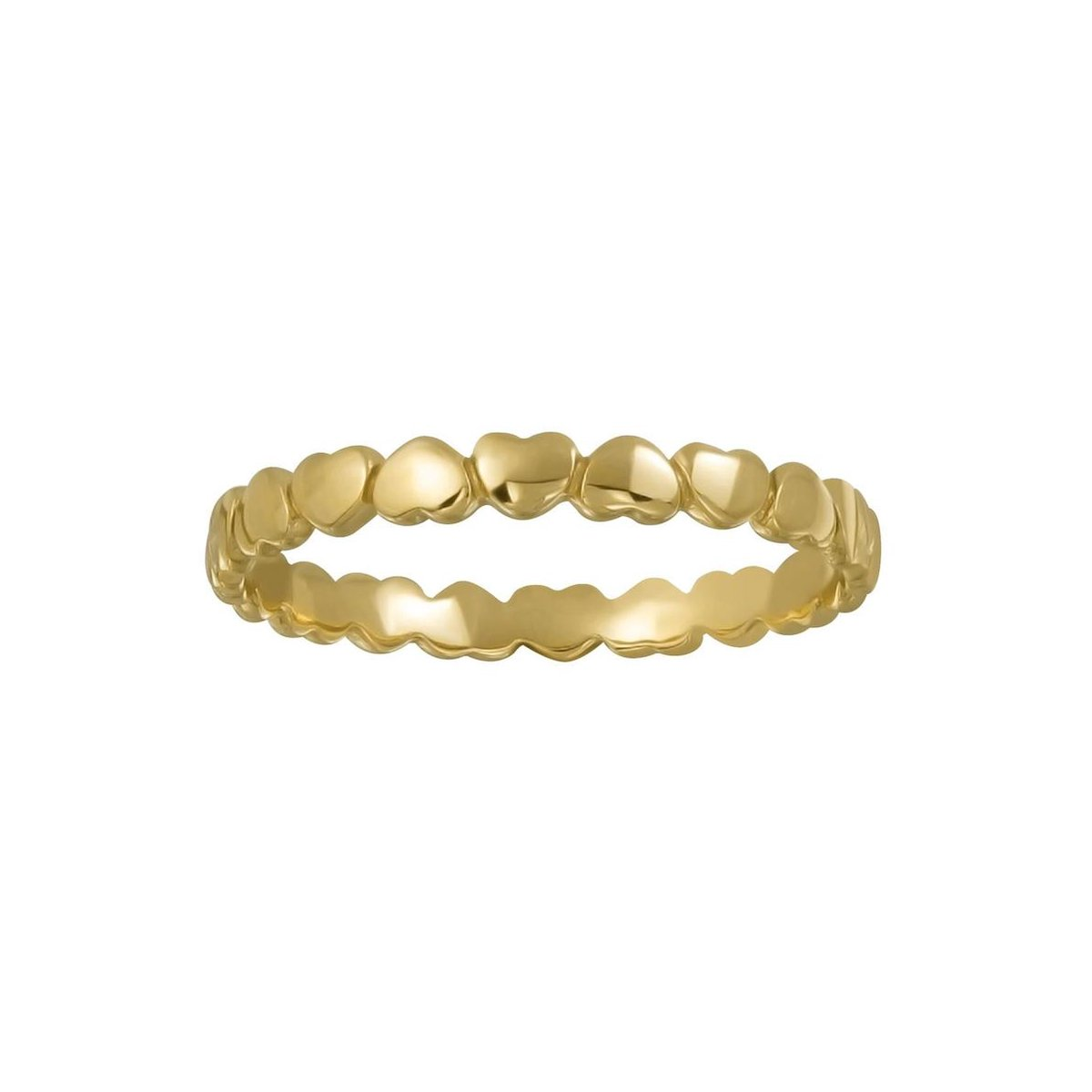 Ringen dames | Gold plated ring, aaneengeschakelde hartjes