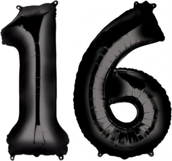 Ballon Cijfer 16 Jaar Zwart Verjaardag Versiering Zwarten Helium Ballonnen Feest Versiering 86 Cm XL Formaat Met Rietje