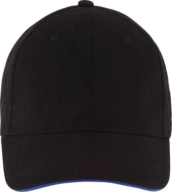 SOLS Unisex Buffalo 6 Panel Baseball Cap (Zwart/Loyaal Blauw)
