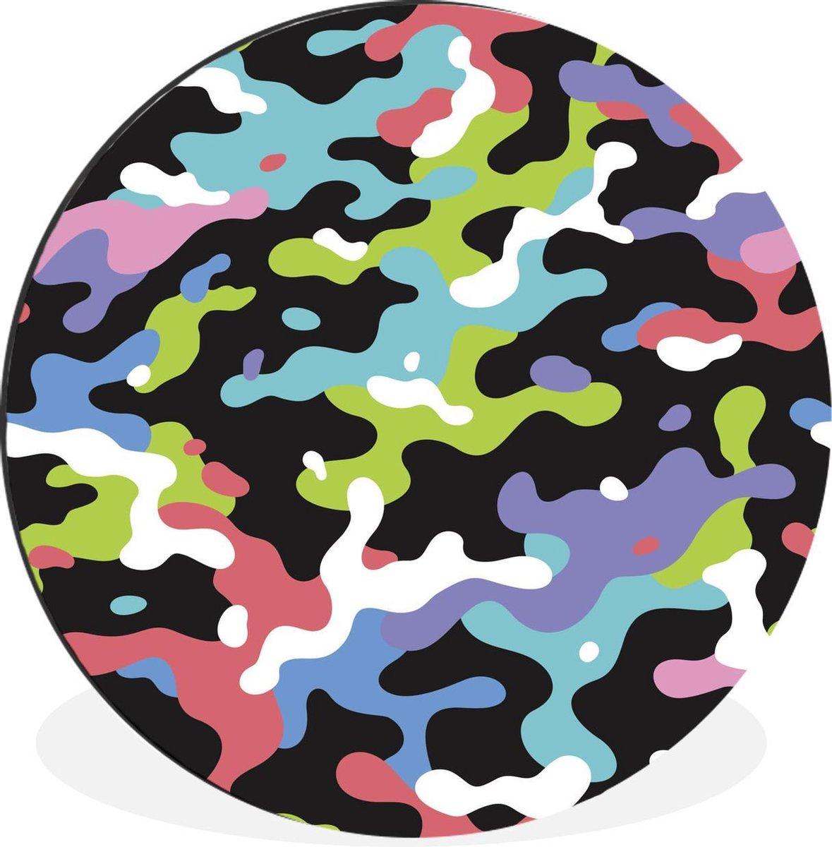 Kleurrijk camouflage patroon Wandcirkel aluminium ⌀ 60 cm - foto print op muurcirkel / wooncirkel / tuincirkel (wanddecoratie)