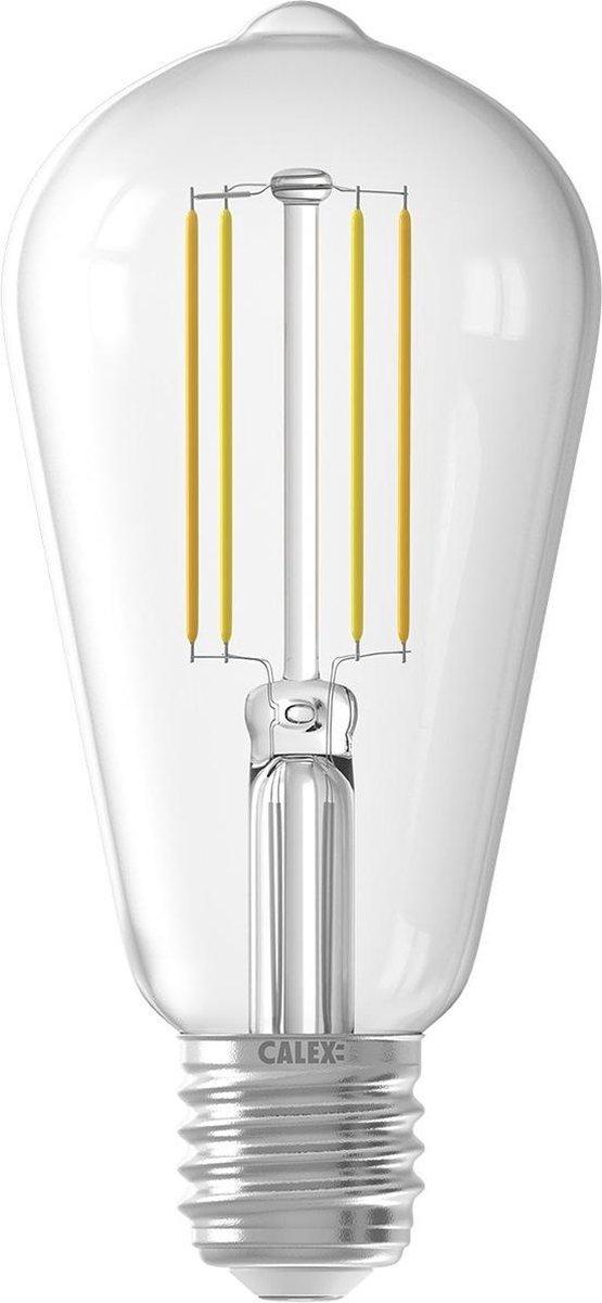 CALEX - LED Lamp - Smart LED ST64 - E27 Fitting - Dimbaar - 7W - Aanpasbare Kleur CCT - Transparant Helder - BSE