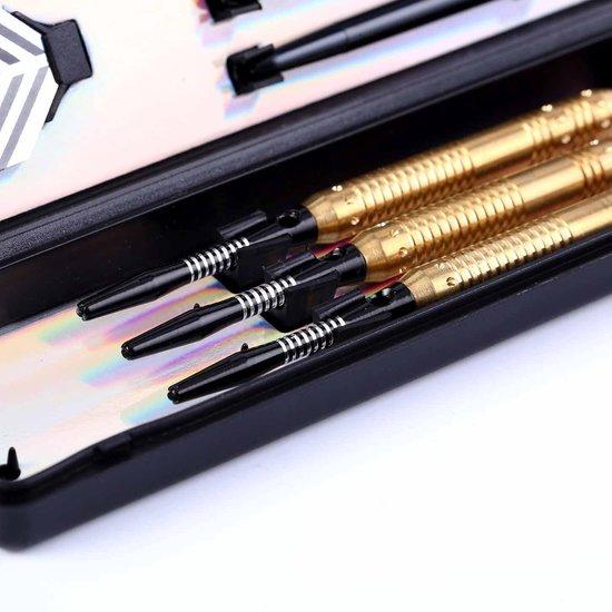 Thumbnail van een extra afbeelding van het spel #DoYourDart - 3x Softtip dartpijlen - koperen barrel - aluminium shafts, 6x flights incl. Dartetui - 18,4g totaal gewicht pijlen - goudkleurig