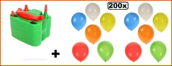Ballonpomp electrisch oranje/groen + 200 ballonnen kleur - ballon pomp ballonnen carnaval thema feest festival evenement verjaardag ballonnenpomp