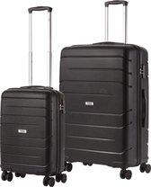 TravelZ Big Bars Kofferset - Trolleyset TSA 2-delig - Handbagage en groot - Zwart