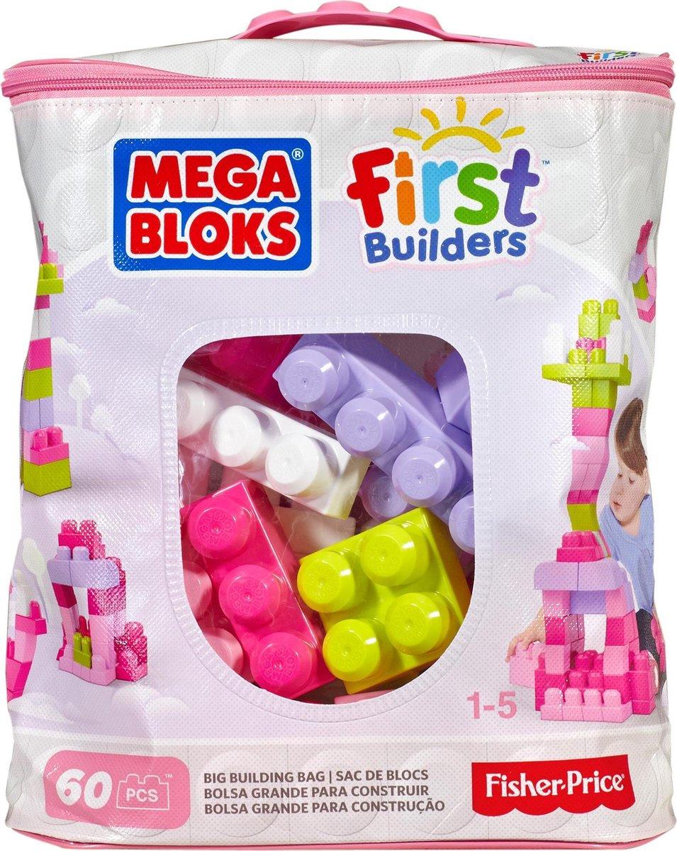 Mega Bloks First Builders 60 Maxi Blokken Met Tas Roze - Constructiespeelgoed