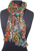 Dames sjaal met fantasie print - gekreukt katoen - turquoise - bruin - groen - oranje - crème - 35 x 180 cm