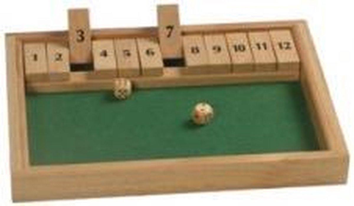 Hot games Shut the box 12 cijfers 31x23x3cm hout