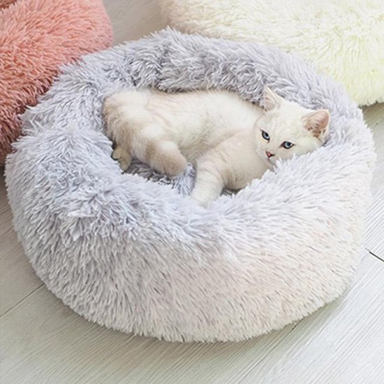 Snoozle Kattenmand - Fluffy - Rond - Wasbaar - 50cm - Lichtgrijs
