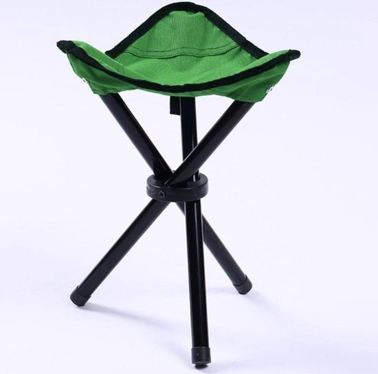 Hiking Outdoor Camping  Fishing Folding Stool Portable Triangle Chair Maximum Load 100KG Folding Chair Size:22 x 22 x 31cm(Green)