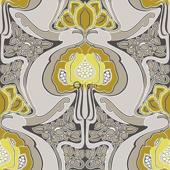 Origin behang jugendstil bloemmotief okergeel en grijs - 347206