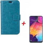 Samsung Galaxy A40 Telefoon Hoesje met pasjeshouder Turquoise + Screenprotector - van Bixb