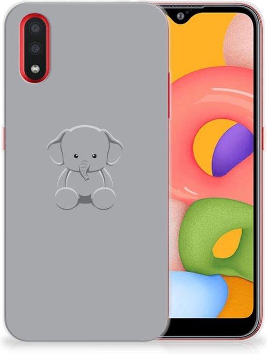 Samsung Galaxy A01 Telefoonhoesje met Naam Grijs Baby Olifant
