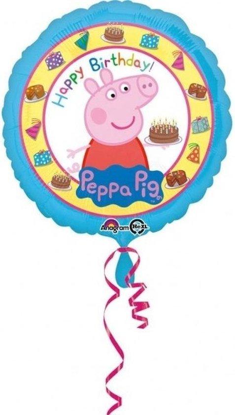 Peppa Pig themafeest folieballon met helium 43 cm - Thema feest folieballon voor kinderfeestje/verjaardag