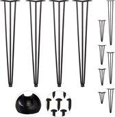 relaxdays hairpin poten - set van 4 - meubelpoten - tafelpoten metaal zwart - vintage