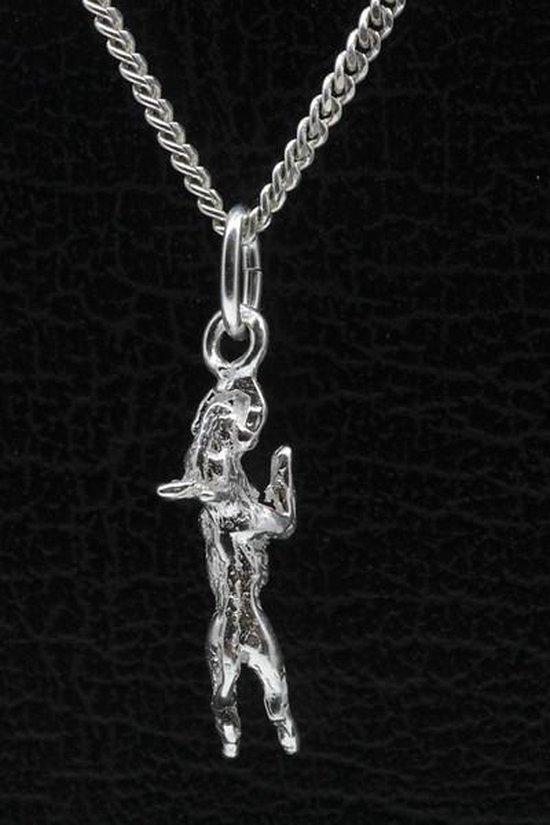 Zilveren Engelse bull terrier hangend aan stok ketting hanger - klein