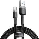 Baseus USB-C Fast Charge Kabel Gevlochten 1 Meter 3A Zwart Grijs