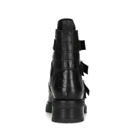 Manfield - Dames - Zwarte crocoprint biker boots met gespen - Maat 37 wGdfJbA3