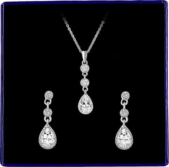 Zilveren set ketting&oorbellen druppel zirkonia