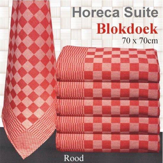 Blokdoeken pompdoeken Theedoeken rood | set van 6 stuks | 70x70cm