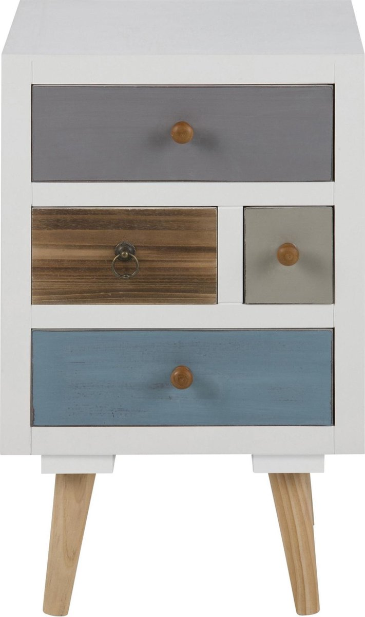 24Designs Nachtkastje Finn - 4 Laden - 36x30x59 - Multikleur - 24Designs