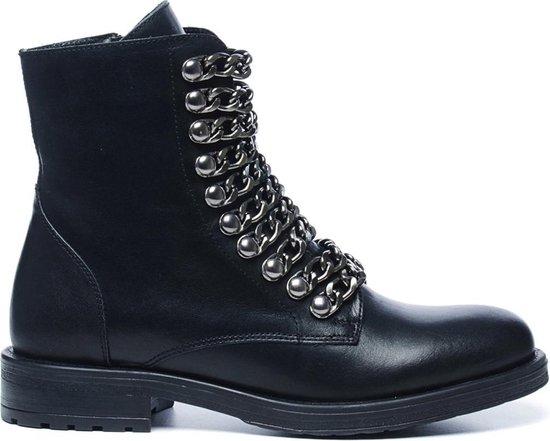 Sacha - Dames - Zwarte biker boots met chains - Maat 40