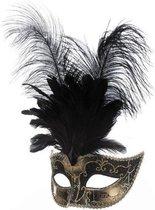 Venetiaans masker grote veren met muzieknoot zwart
