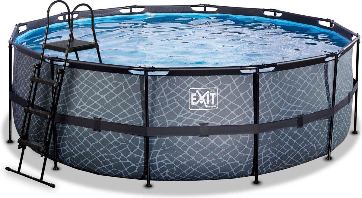 EXIT Stone zwembad ø427x122cm met zandfilterpomp - grijs