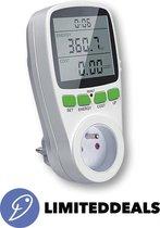 Digitale energie kWh verbruiksmeter - 3680W en 16A MAX - Met verlichting - Kosten besparend - Overbelastingalarm en vele andere functies - LimitedDeals