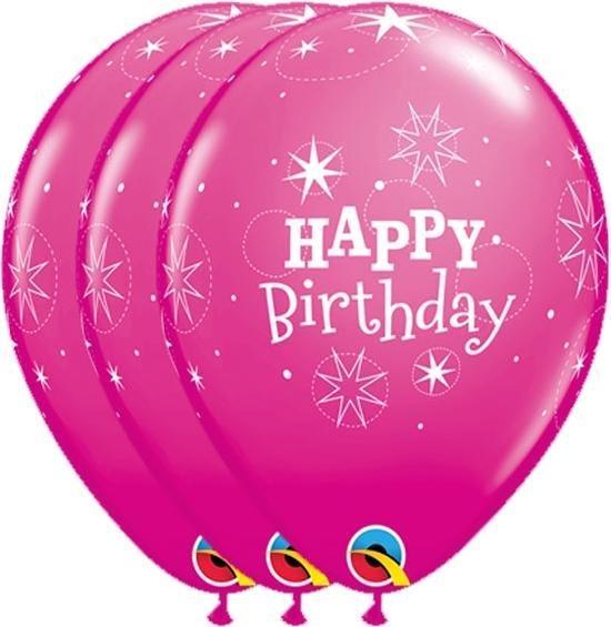 Ballonnen Happy Birthday Sterren Fuchsia 6 stuks