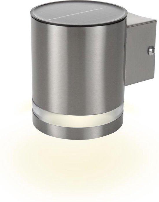 Smartwares GWS-003-DS Wandlamp voor buiten - LED solar - Dag en nacht sensor - RVS
