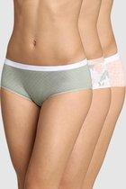 DIM Les Pockets Coton Dames Boxers -3 Pack-Roos/Groen/Roos  -Maat 38/40