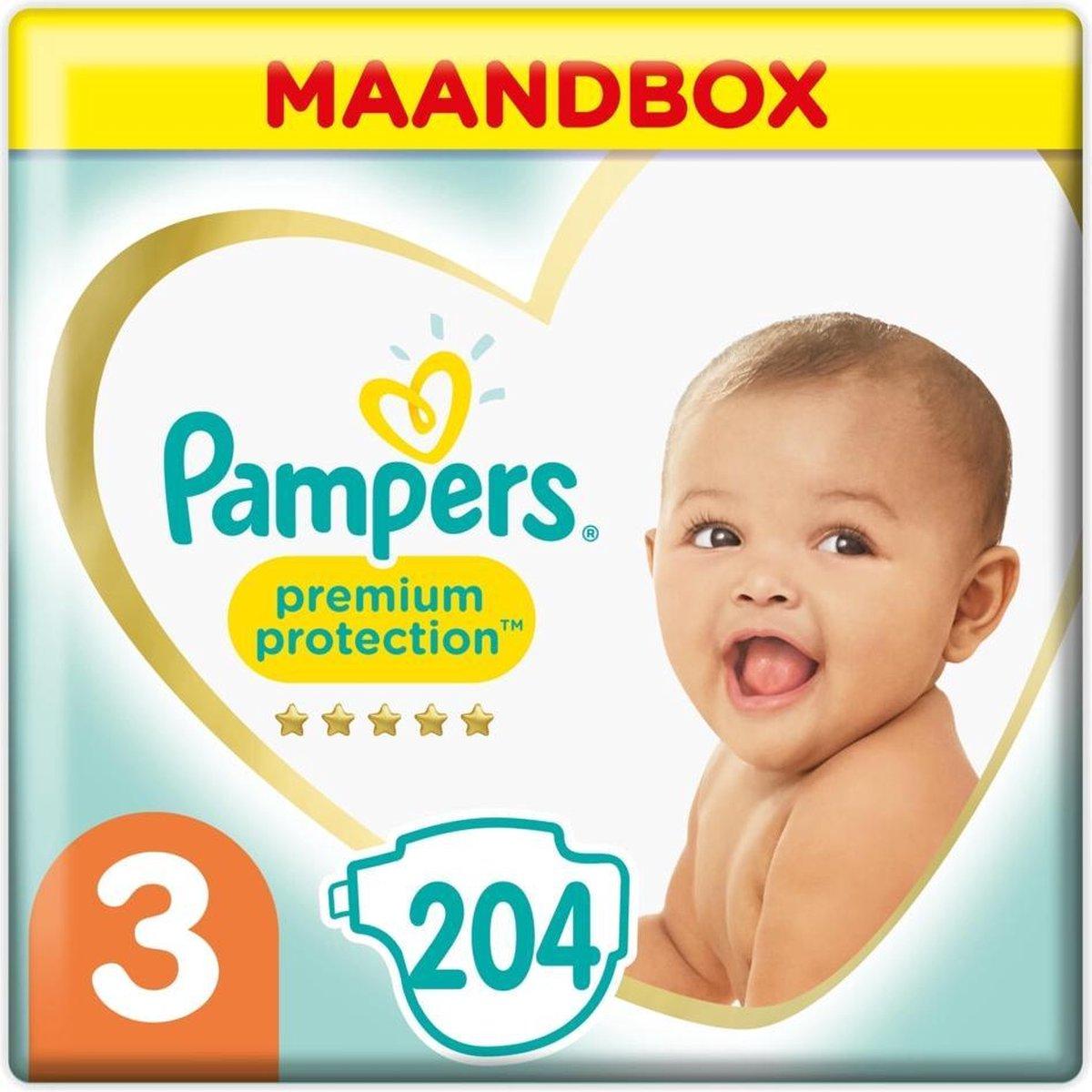 Pampers Premium Protection Luiers - Maat 3 (6-10 kg) - 204 stuks - Maandbox - Pampers