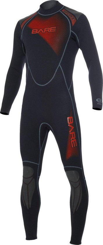 Bare 3/2mm Full - Wetsuit - Heren - M - Zwart/Rood