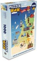 Puzzel 1000 stukjes volwassenen Kaart Nederland 1000 stukjes - Kaart met bezienswaardigheden in Nederland puzzel 1000 stukjes  - PuzzleWow heeft +100000 puzzels
