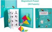 Montessori Houten Speelgoed Puzzel - Educatief Magnetisch Puzzel voor Peuters – (96 Puzzels) – Puzzelboek / Magneetboek / Vormenpuzzel – Groen / Montessori Houten Puzzel met Oplossing / IQ educatief speelgoed cadeau voor kinderen / Tangram Puzzelboek