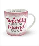 """Verjaardag - Enjoy Mok - Superblij met een lieve Mama zoals jij - Gevuld met een bonbons - In cadeauverpakking met gekleurd lint - Met zijden lint met de tekst: """"Speciaal voor jou"""""""