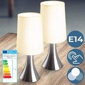 Miadomodo Tafellamp – Dimbaar met Touch Functie – Bureaulamp/Tafellamp/ Slaapkamer Lamp – Slaapkamer Verlichting – Lamp Nachtkastje – Dimbare Tafellamp – Aluminium - Set van 2