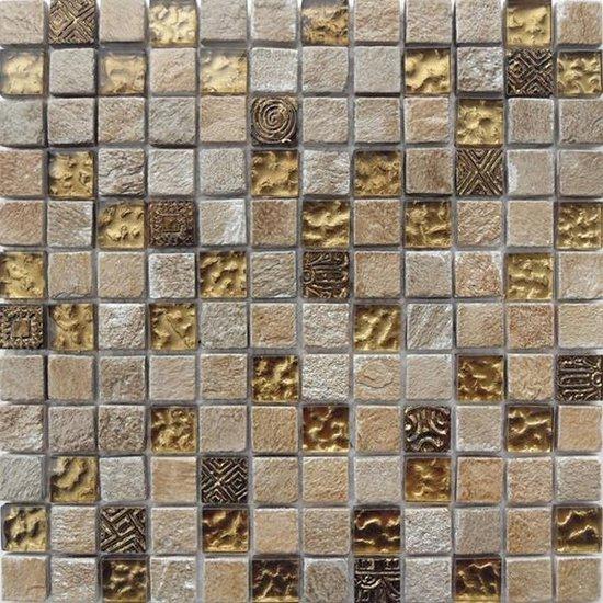 Alfa Mosaico Mozaiek Bonito steen mix travertine/glas 2,3x2,3x0,8 cm -  Mix, Grijs, Beige, Grijs Prijs per 1 matje. - Alfa Mosaico