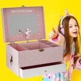 Decopatent® Muziekdoos met Muziek en Unicorn voor Meisjes - Sieradenhouder - Sieradendoos kind - Muziekdoosje Unicorns