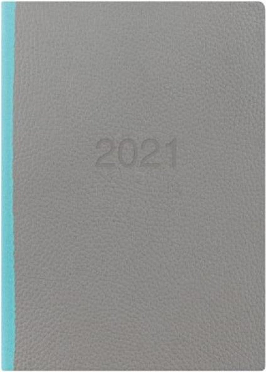 Letts of London Two Tone A5 2021 week to view agenda Grey / Teal